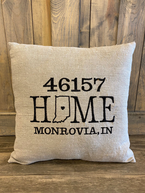 Home Monrovia 46157 Zip Code Pillow  Embroidered Home Pillow