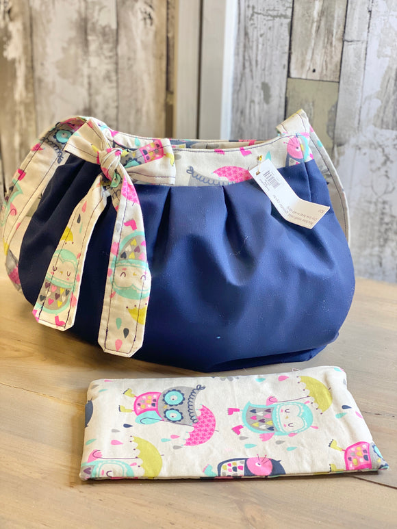 Blue with Owls Quilted Handbag w/ Wallet