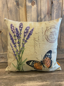 Butterfly With Lavender Throw Pillow