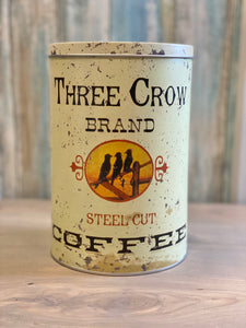 Three Crow Brand Coffee Tin Canister