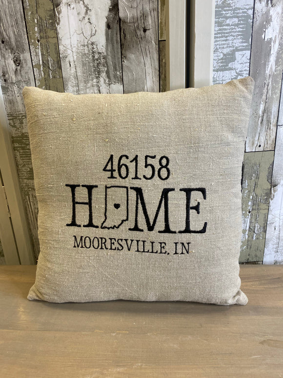 Home Mooresville IN 46158 Embroidered Throw Pillow