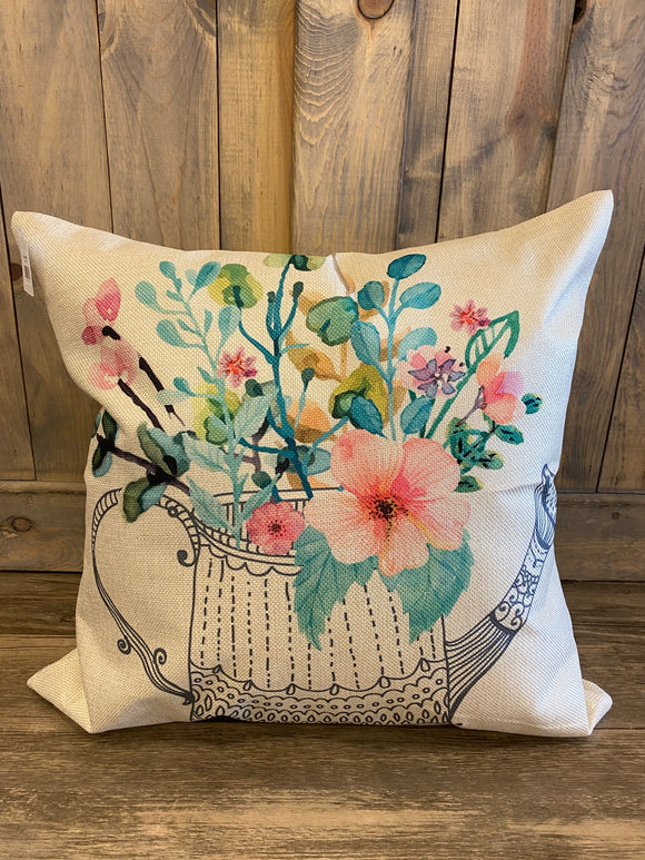Flowers In A Watering Can Throw Pillow