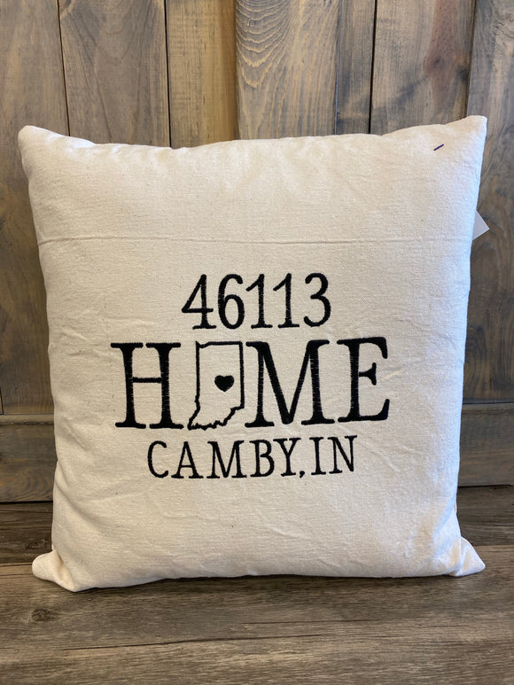 Home Camby IN 46113 Zip Code Pillow  Embroidered Home Pillow