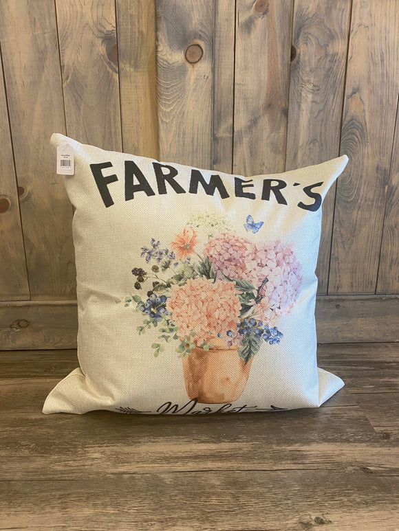 Farmer's Market With Flowers Throw Pillow