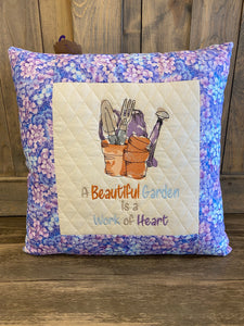 A Beautiful Garden Embroidered Home Pillow