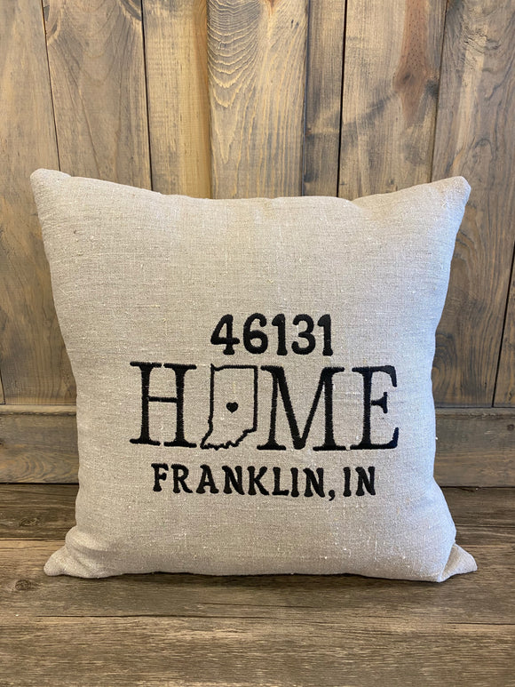 Home Franklin IN 46131 Zip Code Pillow  Embroidered Home Pillow