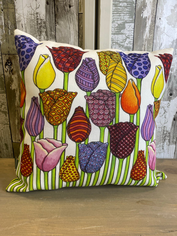 Tulip Flowers Throw Pillow