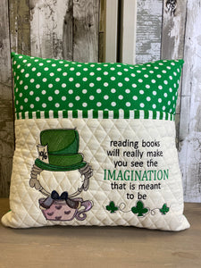 Reading Books will Really Make You See Imagination Reading Embroidered Throw Pillow