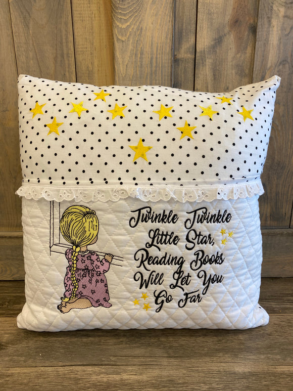 Twinkle Twinkle Reading Embroidered Throw Pillow