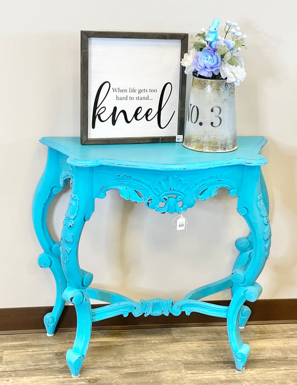 Entryway Table Blue Half Moon