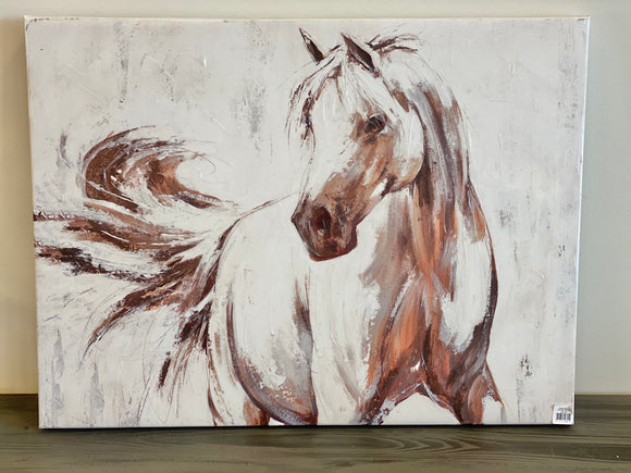 Horse Canvas Picture - White
