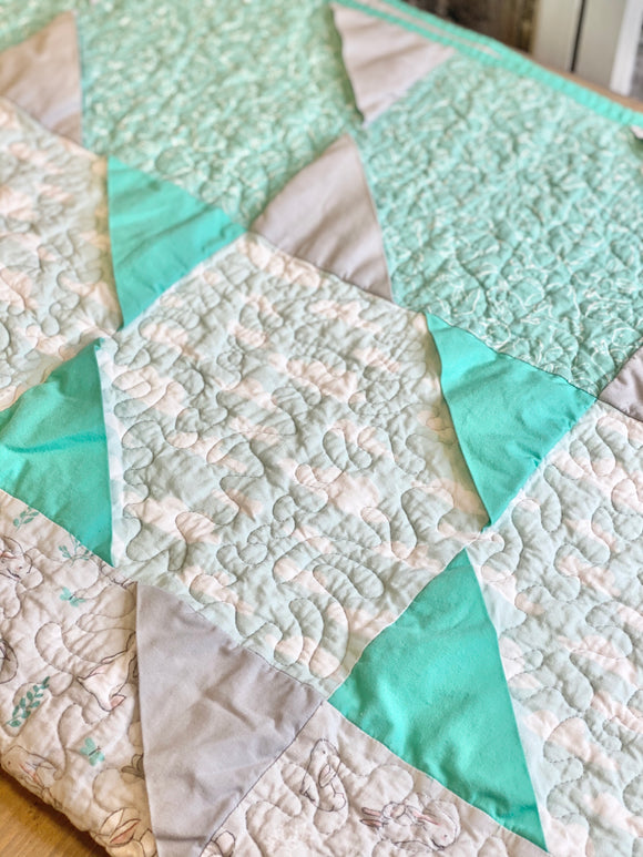 Blue & Gray Bunny & Ballons Quilt