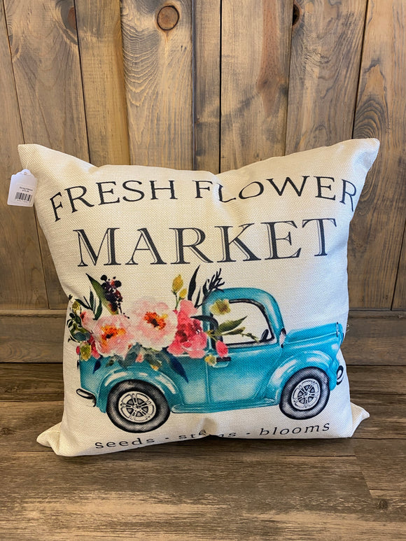 Fresh Flower Market With Truck Throw Pillow