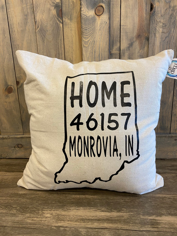 Home Monrovia IN 46158 Vinyl Pressed Throw Pillow