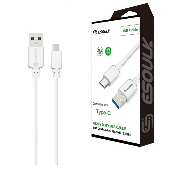 CABLE ANDROID TYPE-C 10FT PLASTIC WHITE ESOULK