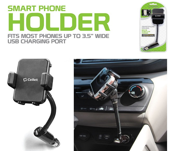 "PHONE CAR HOLDER CHARGER 3.5"" WIDE BLACK CELLET"