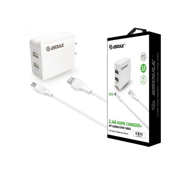 HOME ADAPTER COMBO MICRO USB EC44P-V9-5FT-WHITE ESOULK WHITE