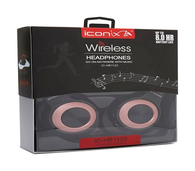 BLUETOOTH WIRELESS STEREO HEADPHONES PINK ICONIX