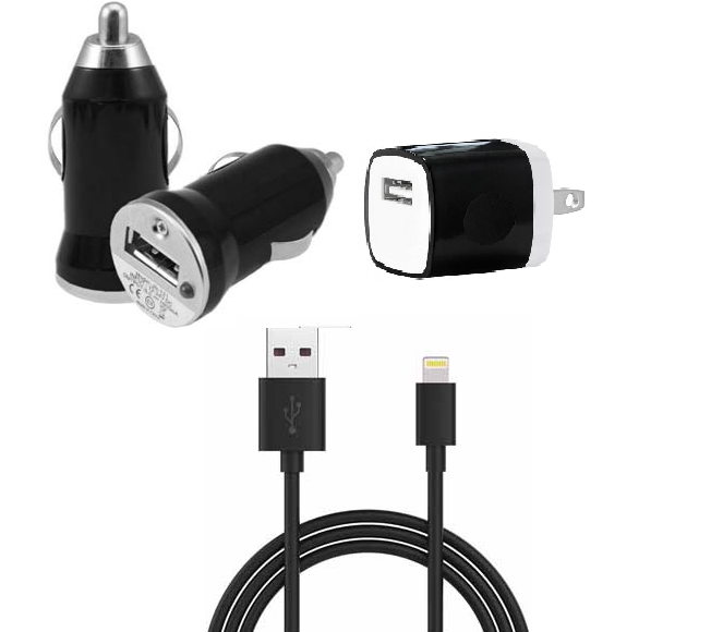 CAR AND HOME ADAPTER COMBO IOS BLACK