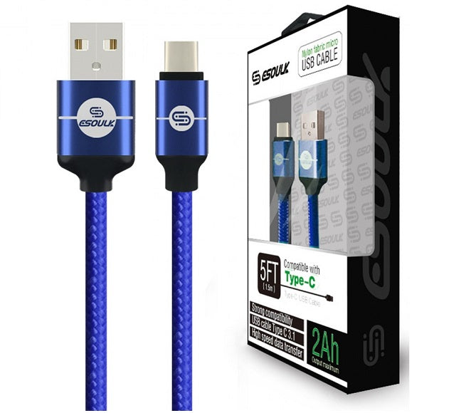 CABLE ANDROID TYPE-C 5FT NYLON BRAIDED BLUE ESOULK