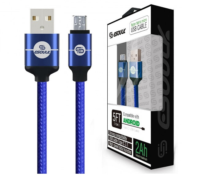 CABLE ANDROID MICRO USB 5FT NYLON BRAIDED BLUE ESOULK