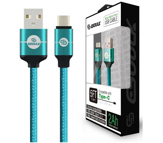 CABLE ANDROID TYPE-C 5FT NYLON BRAIDED GREEN ESOULK