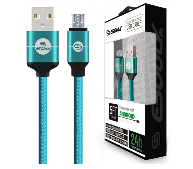 CABLE ANDROID MICRO USB 5FT NYLON BRAIDED GREEN ESOULK