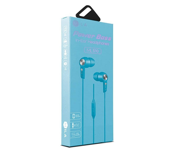 HEADSET POWER BASS ML510 LIGHT BLUE MILA