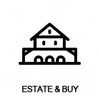 line art drawing of mansion or house saying estate and buy