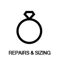 line art drawing of diamond ring says repais and ring sizing