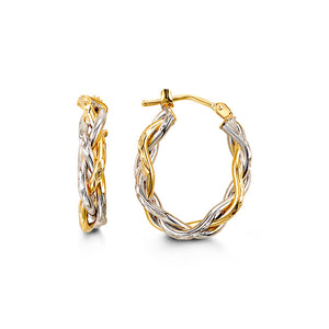 Two-Tone Braided Hoops  Hollow 10k White and Yellow Gold
