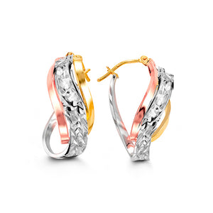 Tri-Tone Twisted Earrings  Hollow 10k Yellow, White, and Rose Gold  23mm