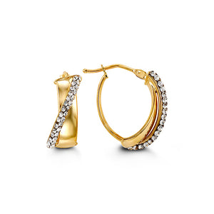 Small Oval Earrings  Cubic Zirconia and Hollow 10k Yellow Gold