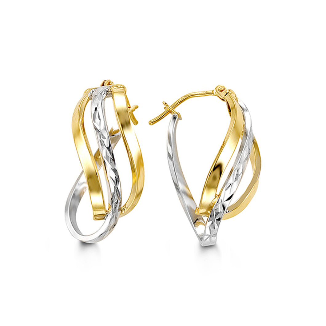 Two-Tone Twisted Earrings  Hollow 10k Yellow and White Gold