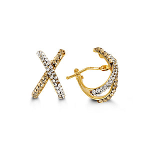 Crossover Hoops  Cubic Zirconia and Hollow 10k Yellow Gold