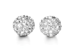 Shiny 8mm Ball Studs  Cubic Zirconia and Hollow 10k White Gold