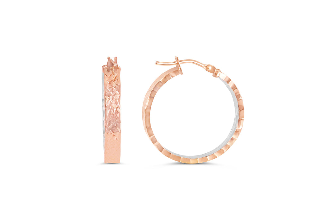 Small Textured Hoops  Hollow 10k White and Rose Gold  Rose Gold with White Interior