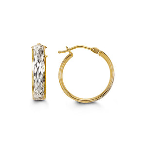 Two-Tone Diamond-Cut Hoops  Hollow 10k Yellow and White Gold