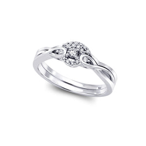 6.5-Diamond Engagement Ring 1=0.06ct; 10=0.06ct; 10k White Gold