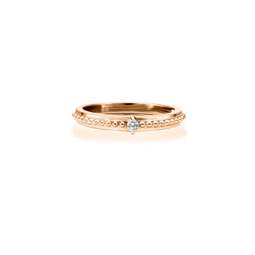 6.5-Diamond Engagement Ring 0.04ct; 10k Rose Gold