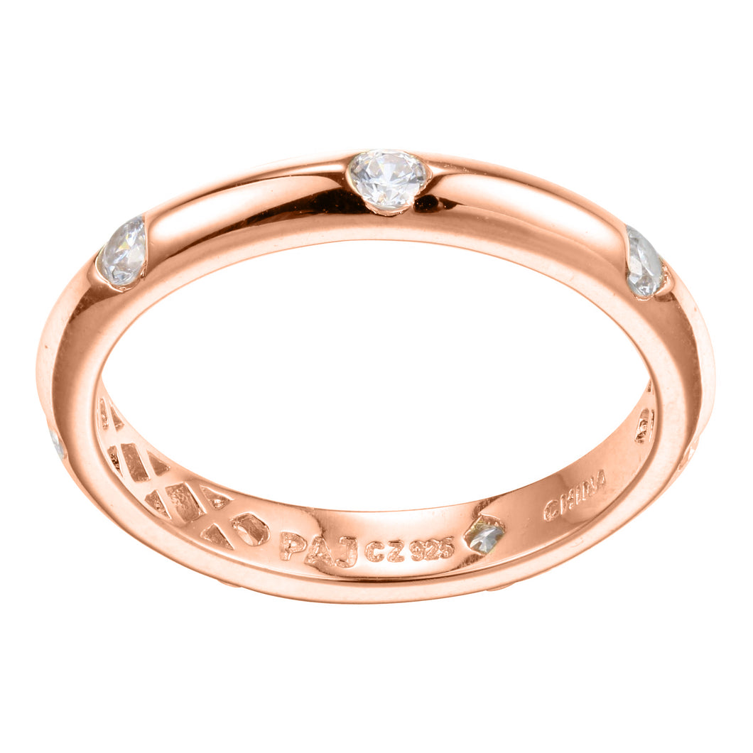 Rose Gold Plated Sterling Silver and Cubic Zirconia  Station Ring