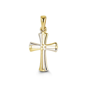 Cross Pendant 10K Two Tone Gold