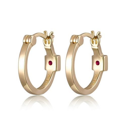 ELLE Yellow Gold Plated Silver 15mm Hoop Earrings