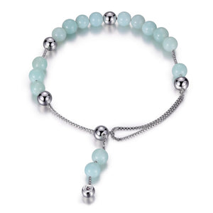 Amazonite and Sterling Silver  Bolo Style Bracelet
