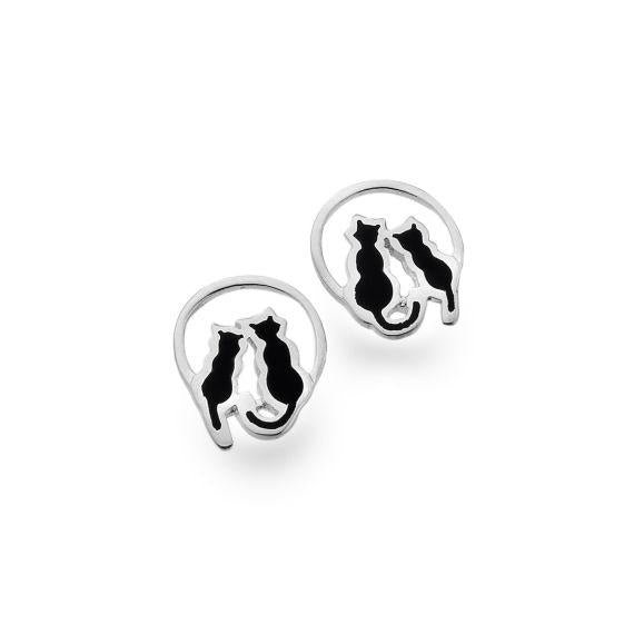 Silver and Black Enamel Cats on a Full Moon Stud Earrings