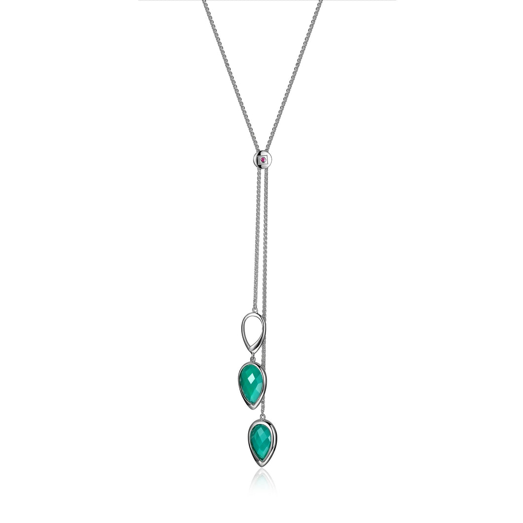 Green Chrysoprase and Sterling Silver Necklace  Comes on 28in Sterling Silver Bolo Chain