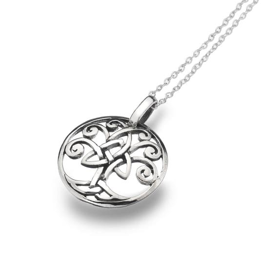 Silver Celtic Tree of Life Round Pendant
