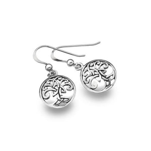 Silver Celtic Tree of Life Round Dangle Earrings