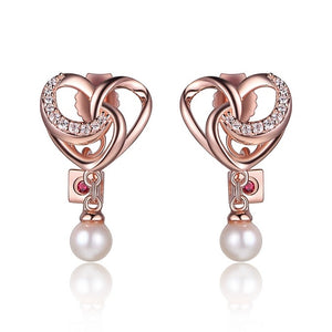 Amour Earrings  Freshwater Pearl and Cubic Zirconia  Rose Gold Plated Silver