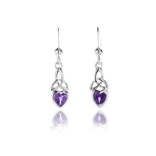 Sterling Silver Celtic Trinity & Heart Dangle Earrings with Genuine Amethyst